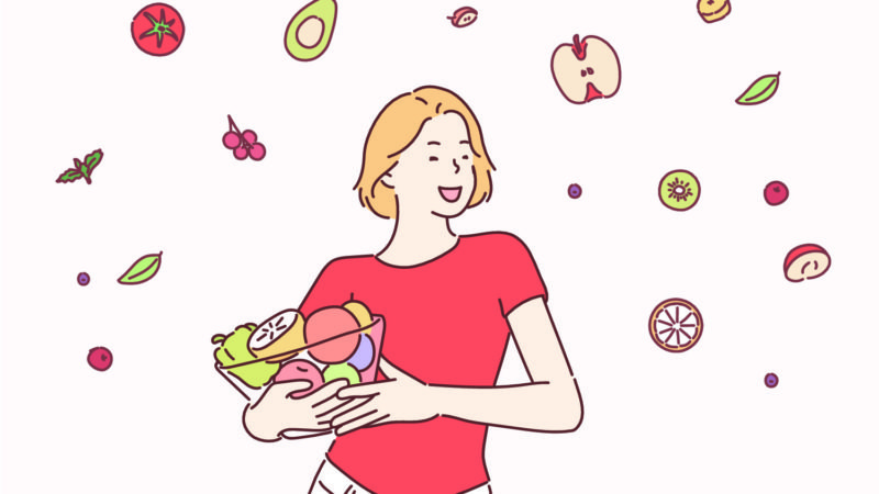 an illustration of a girl in red t-shirt and white jeans holding a bold of salad