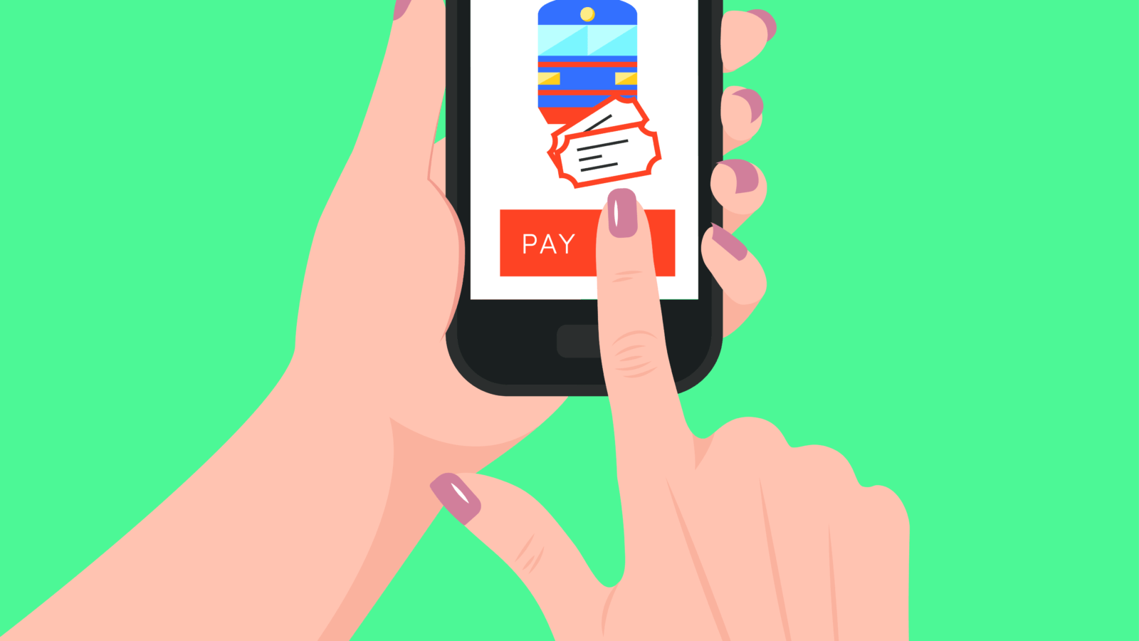 Women's hands holding smartphone and buying train tickets online. Mobile payment concept, vector.
